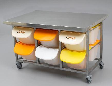 Table inox de preparation boulangerie pour container 15 l for Agencement container