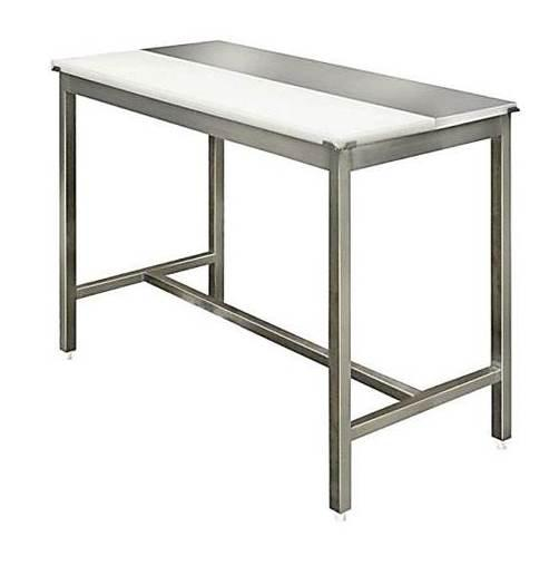 table-decoupe-centrale-mixte-polyethylene-inox